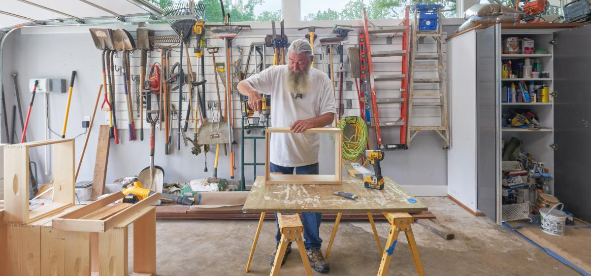 Jerry in his workshop building a frame.