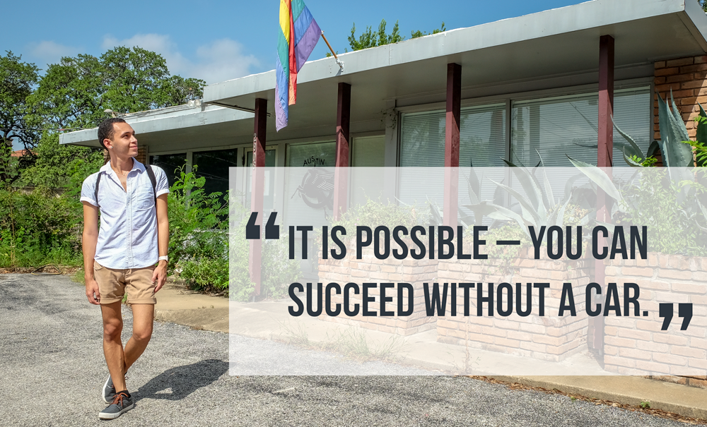 "Juan outside his work with rainbow flag above, quote overlay says ""It is possible - you can succeed without a car."""