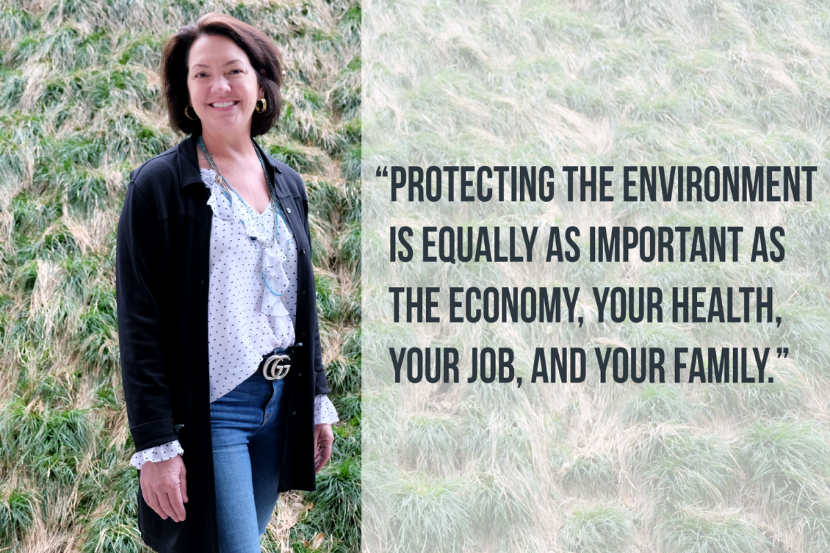 """Protecting the environment is equally as important as the economy, your health, your job, and your family."" typed in quotes next to a photo of Laura Huffman with a green grassy background."
