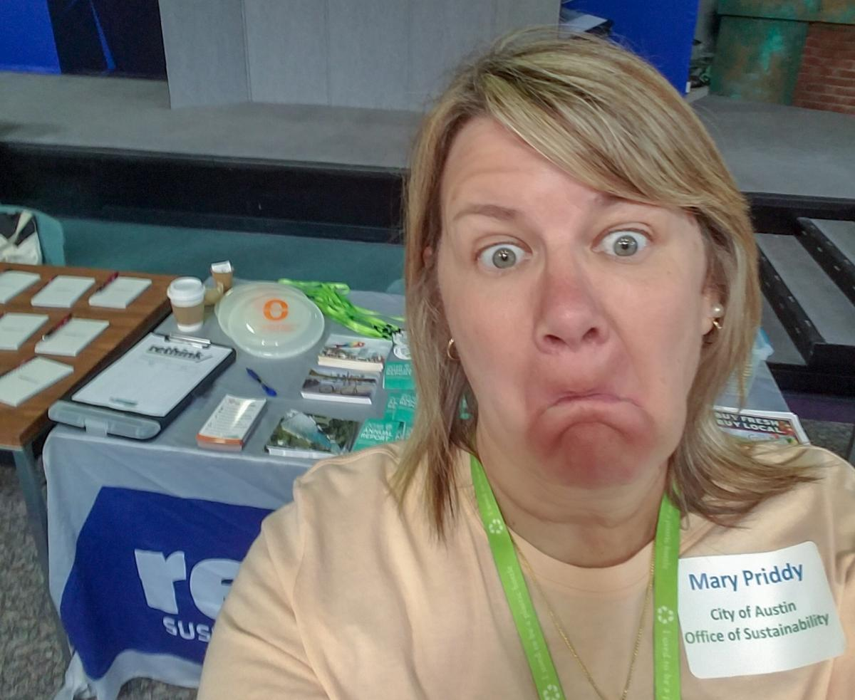 Mary Prddy took a silly selfie in front of an outreach table.