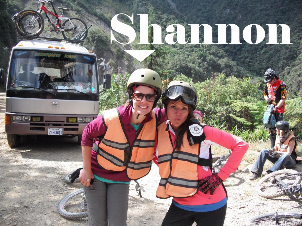 Text: Shannon, picture of Shannon and friend with van, bicycle and mountain in background