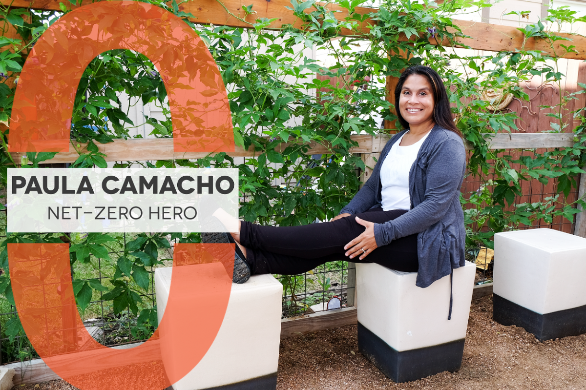 Paula Camacho Net-Zero Hero, Photo of Paula in the garden