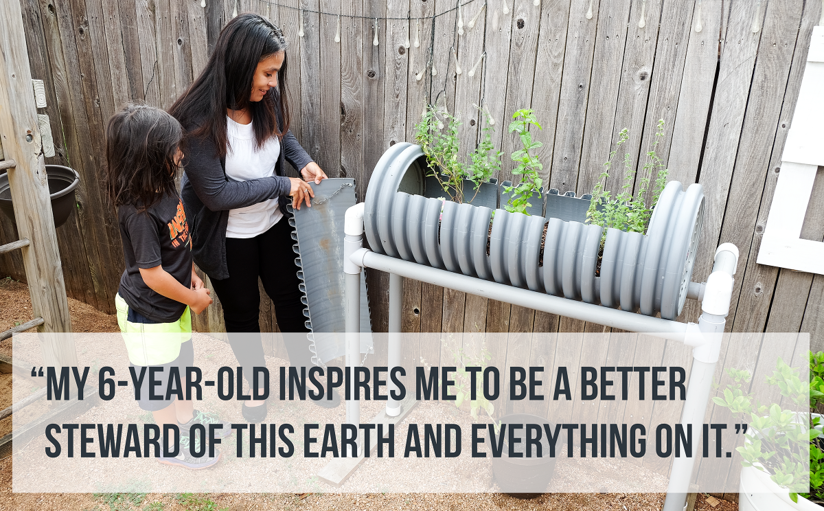 "Paula with son in garden, Quote: ""My 6-year-old inspires me to be a better steward of this earth and everything on it."""