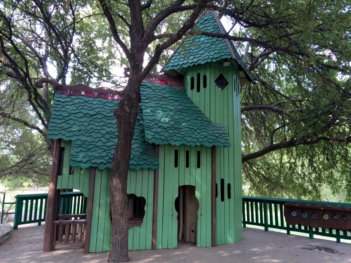 Green playhouse.