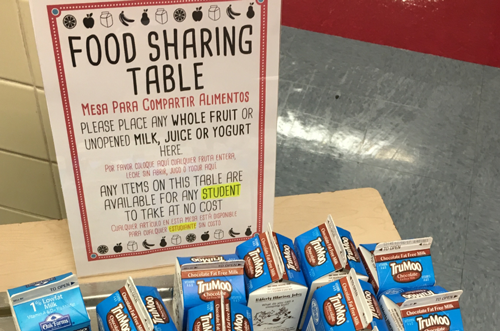 "Table with a sign on it that reads ""Food Sharing Table"" There are school milks on the table."