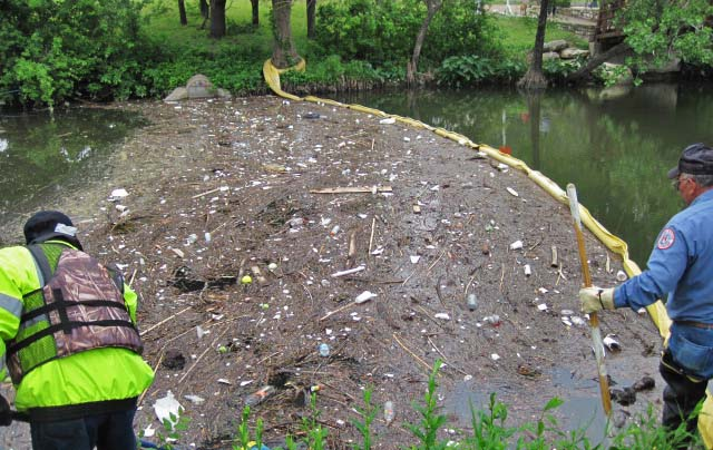 image of a trash boom at Shoal Creek