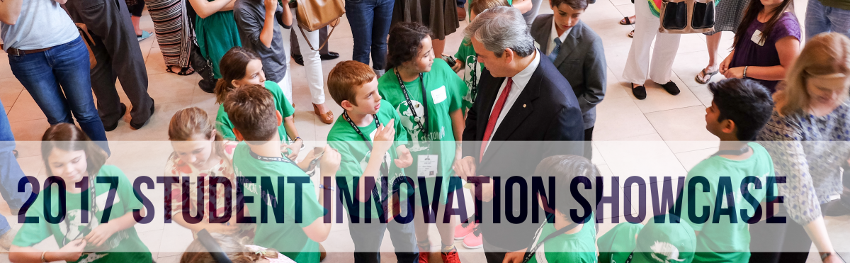 Background: Mayor Steve adler with students, Text: 2017 Student Innovation Showcase