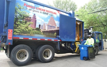 image of a single stream recycle truck