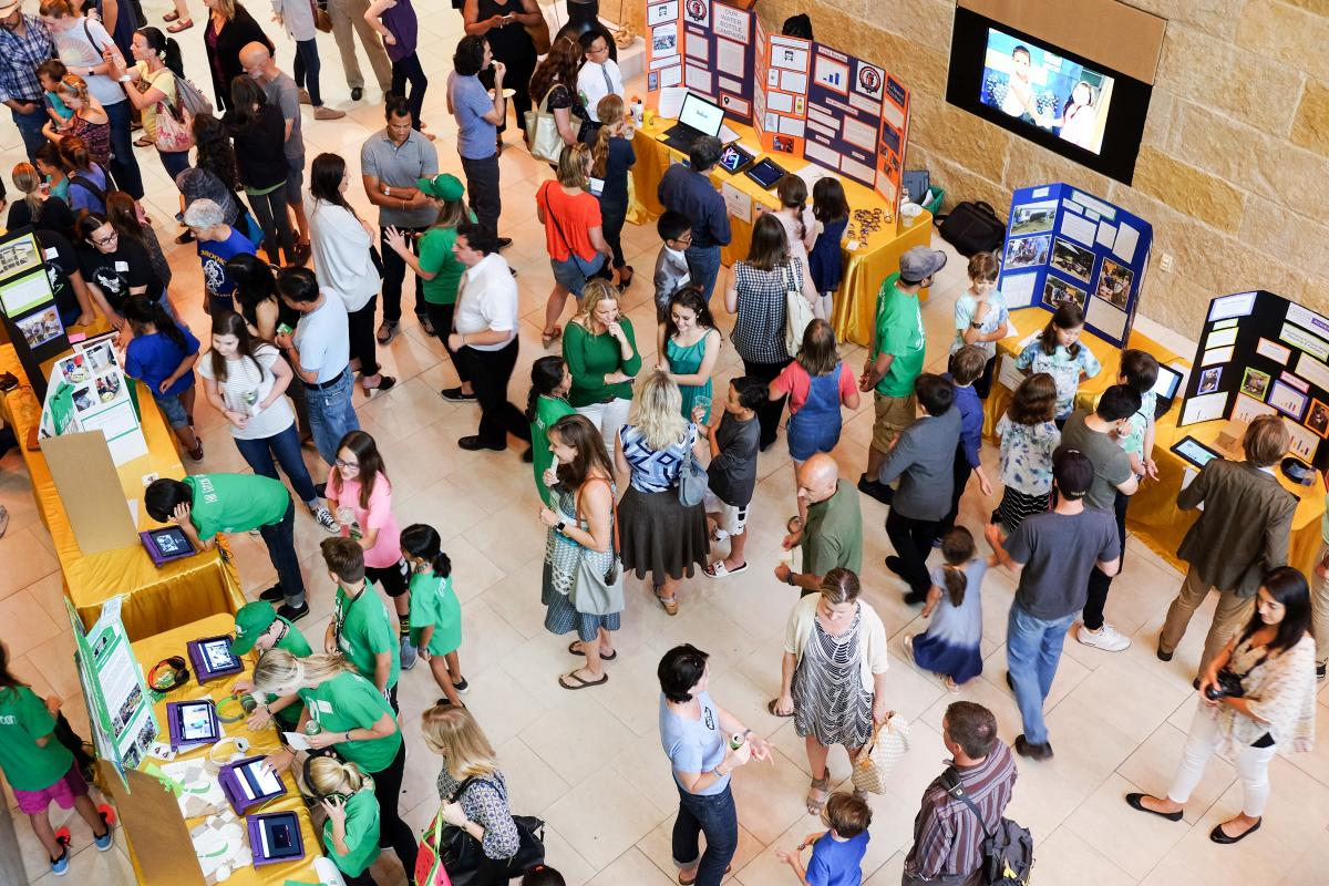 Aerial photo of students at the Student Innovation Showcase