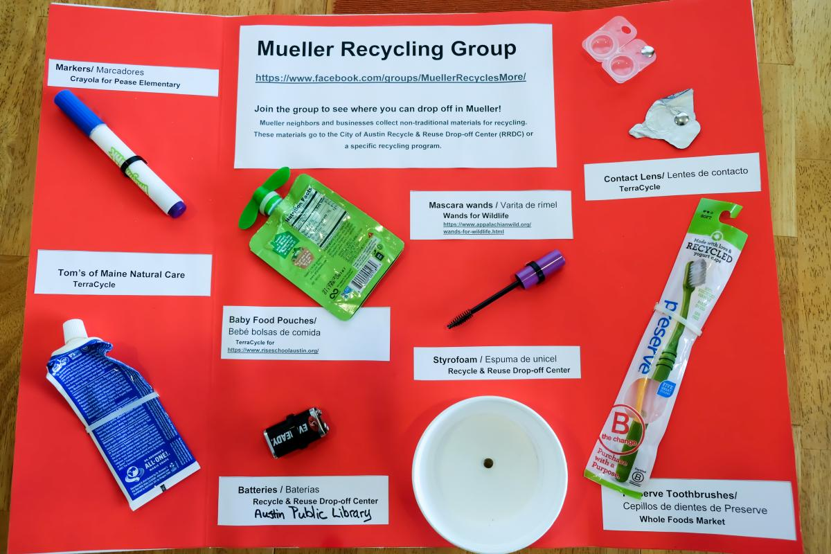 A bright red poster with detailed recycling instructions for the Mueller Recycling Group.