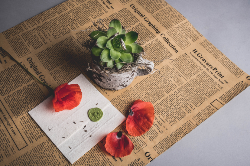 Orange flower and card on top of newsprint with a succulent in a pot nearby.