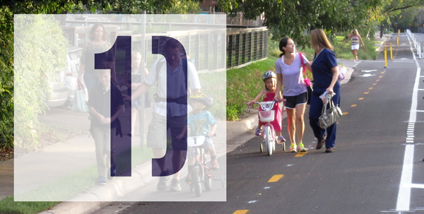 Number: 1 with picture overlay of families bicycling together