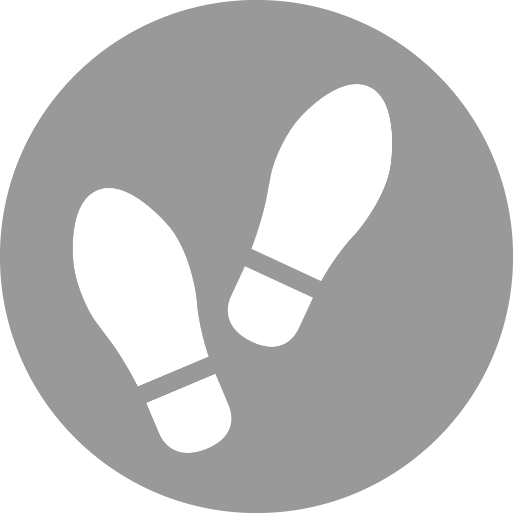 Grey and white graphic of feet