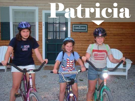 Text: Patricia, picture of Patricia on bike as a child with two sisters