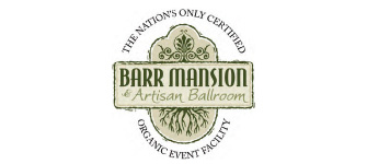 "Barr Mansion Logo ""the nation's only certified organic event faciliy"""