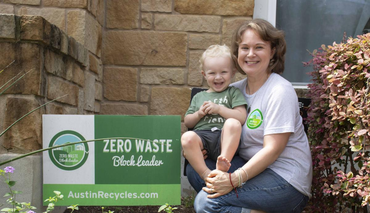 Zero Waste Block Leader Taylor Youngblood and her son Carl