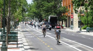 Photo of cyclists using two-way bike lane