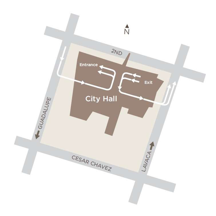 Map showing current configuration of City Hall parking garage, with ingress from Guadalupe and Egress from Lavaca.