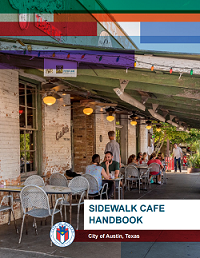 Cover of sidewalk cafe handbook showing people sitting at a sidewalk cafe.