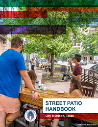 Street patio handbook cover showing people sitting and standing at a street patio.