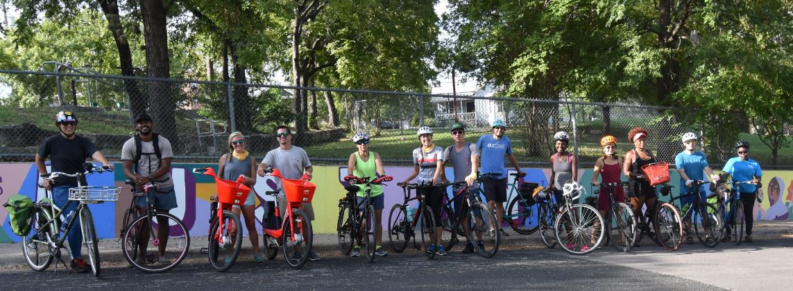 Community members on a group bike ride held by the Smart Trips Program, which educates Austin neighborhoods on their available sustainable mobility options.