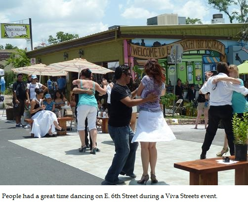 People had a great time dancing on E. 6th Street during a Viva Streets event.