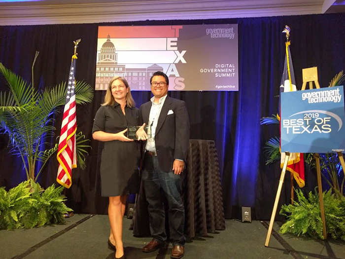 Jessica Wilson, Watershed Protection Department, and Marbenn Cayetano, Central Technology Management, accepted the award for Most Innovative Use of Citizen Engagement on May 30, 2019.