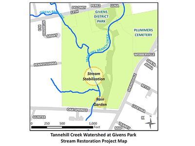 An illustrated map og the Givens park project
