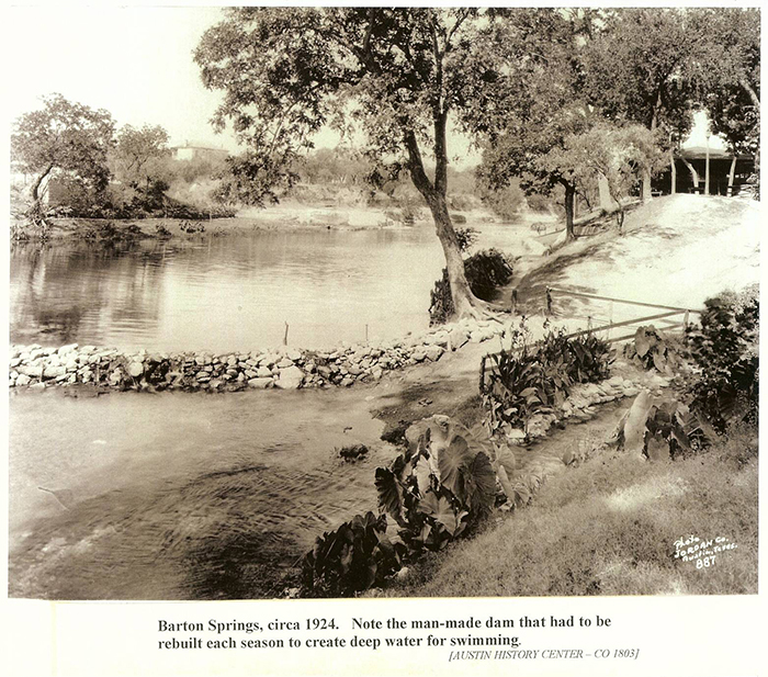 Barton Springs, circa 1924.  Note the man-made dam that had to be rebuilt eah season to create deep water for swimming.