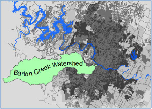 A map fo the Barton Creek watershed.