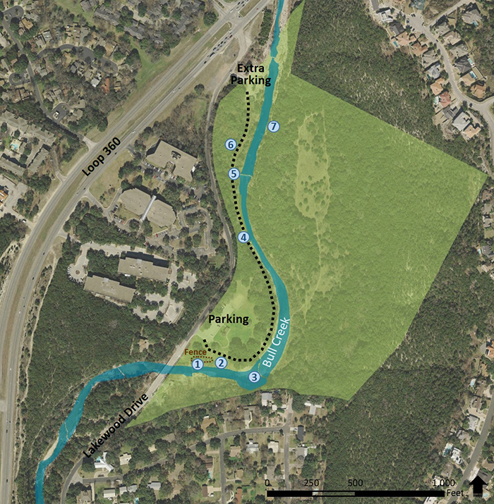A map of Bull Creek District Park that shows seven locatinos that will be pictured below.  The seven locations are Scooby Doo Spring, a Grow Zone, a Cascade, Cliff Spring, Dam Spring, Wetland, and Canyon Rimrock