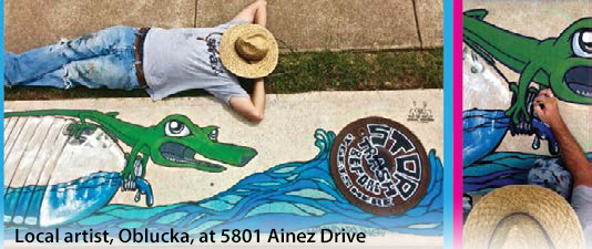 A mural painted over a storm drain.