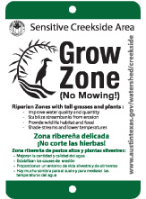Grow Zone sign used to identify city established Grow Zones.