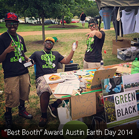 "Green is the New Black receives the ""Best Booth"" award at Austin's 2014 Earth Day Festival."