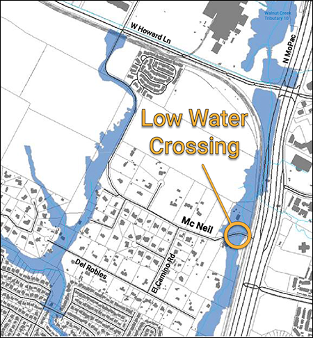 map showing low water crossing