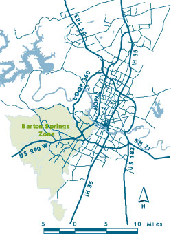 Overhead map of the City of Austin