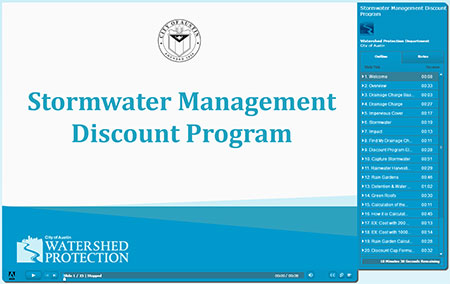 Image of Cover of Training Presentation - Stormwater Management Discount Program