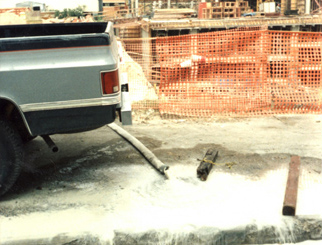 Illegal sediment discharge from construction site dewatering.
