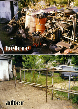 Photo of before and after clean-up of an area with old automobile parts, oil barrells and tires.