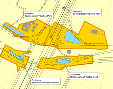 Map of Texas Department of Transportation (TxDOT)  Sedimentation Filtration Ponds