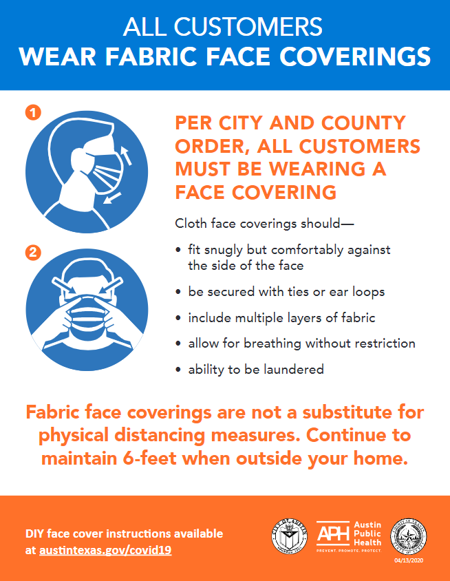 All Customers Wear Fabric Face Coverings