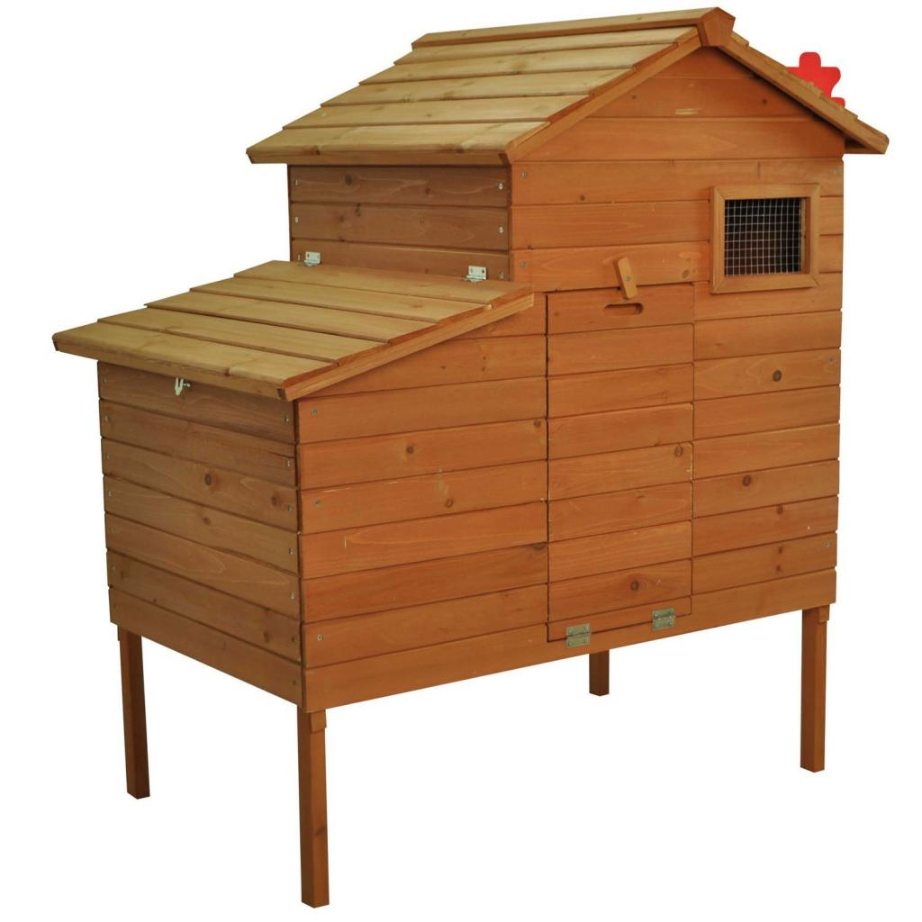 Stationary chicken coop without a run