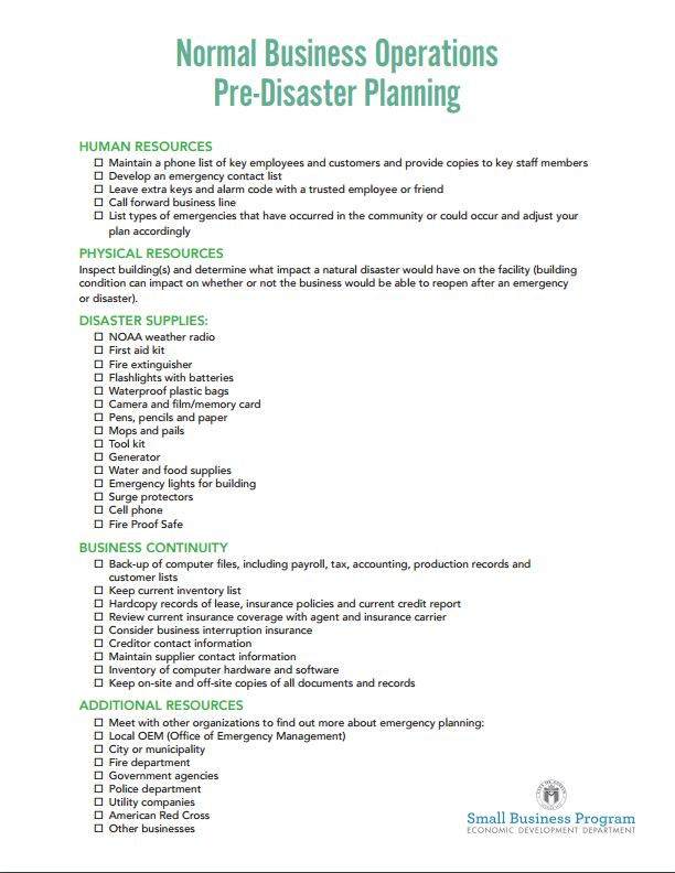 emergency response checklist template - preparedness materials the official