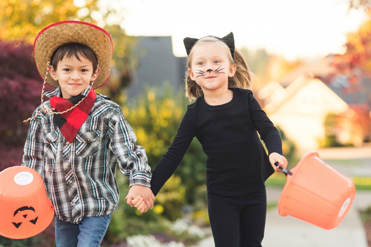 two children are dressed in homemade costumes: a cowboy and a cat.