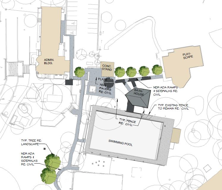 Proposed bathhouse site plan showing new pavers and anew ADA ramps and sidewalks between playscape, bathhouse, concessions stand, and administration building.