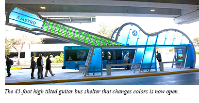 A ribbon cutting program was held to officially open the 45-foot high tilted guitar bus shelter that changes colors.