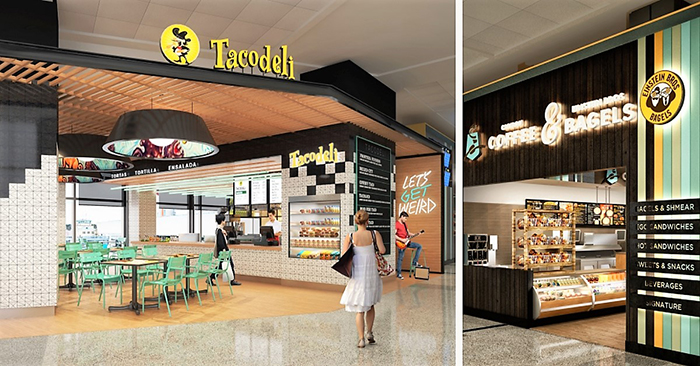 Tacodeli and Einstein Bros. Bagels will replace Austin Java and the Austin Chronicle between Gates 14-15.