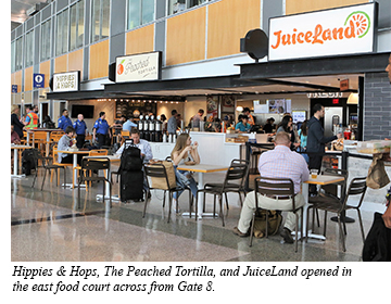 photo Hippies & Hops, The Peached Tortilla, and Juiceland opened in the east food court across from Gate 8.