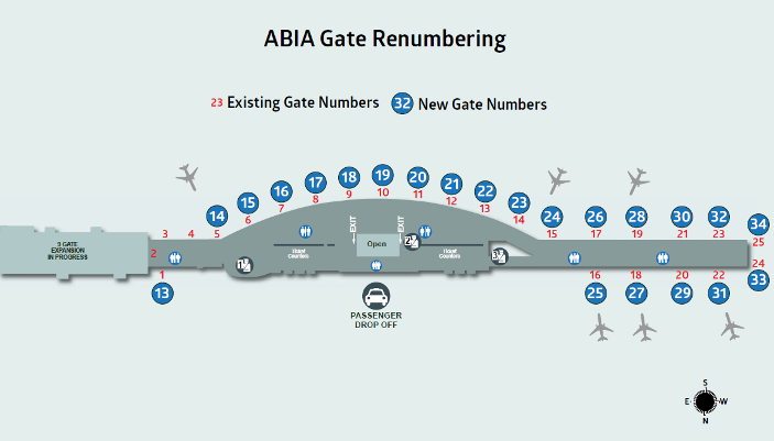 Map of all phases of ABIA gate renumbering.