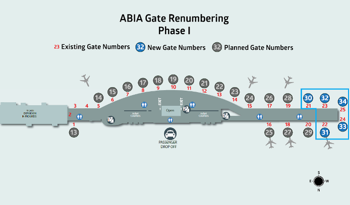 Map of ABIA gate renumbering phase one.